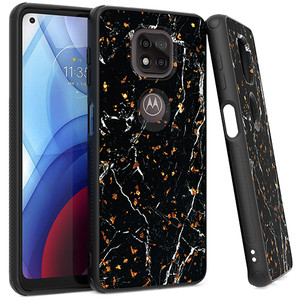 Moto G Power 2021 MM Marble Design Case Black and Gold