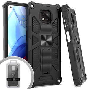 Moto G Power 2021 MM Magnet Tactical Kickstand Case Black