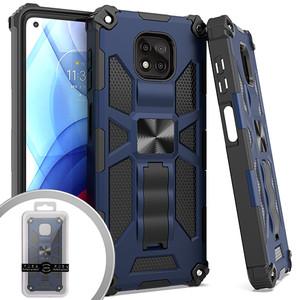 Moto G Power 2021 MM Magnet Tactical Kickstand Case Navy Blue