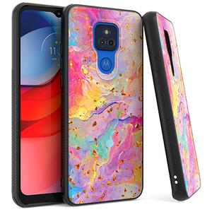 Moto G Play 2021 MM Marble Design Case Rainbow