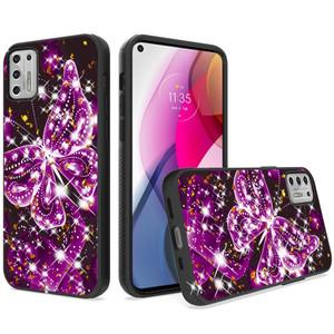 Moto G Stylus 2021 MM  Glitter Design Purple Butterfly