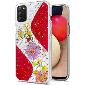 Samsung A02S MM Two Tone Glitter Case Flower Red
