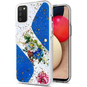 Samsung A02S MM Two Tone Glitter Case Flower Blue