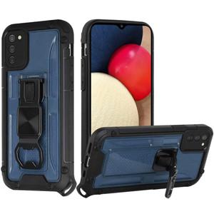 Samsung A02s Opener Metal Magnetic Kickstand Case Dark Blue