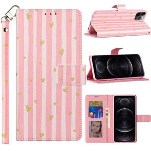 iPhone 11 MM Wallet 3D Design Heart W Pink Stripe