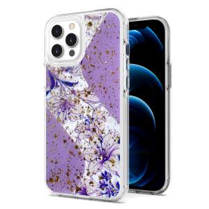iPhone 11 MM Epoxy Glitter Design Purple Flower