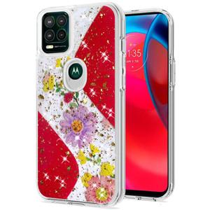 Motorola G Stylus 5G MM Epoxy Glitter Case W Flower Red