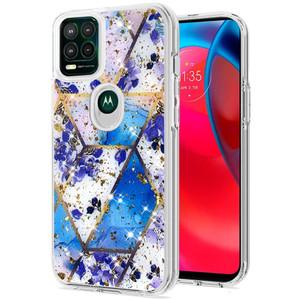 Motorola G Stylus 5G MM Epoxy Glitter Case Rhombus Blue