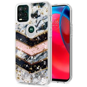 Motorola G Stylus 5G MM Epoxy Glitter Case Black Stripe