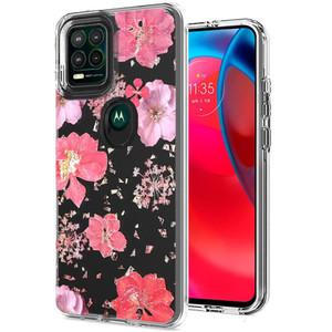 Motorola G Stylus 5G MM Transparent Glitter Case Pink Flower