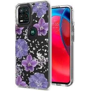 Motorola G Stylus 5G MM Transparent Glitter Case Purple Flower