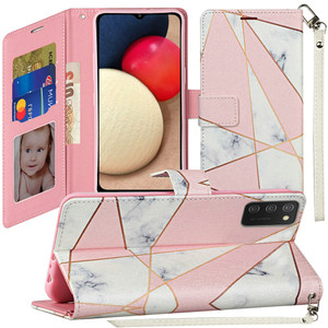 Samsung A02s Vegan Design Wallet Case Pink Marble