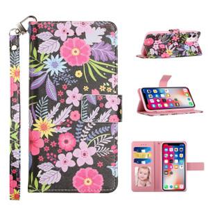 Samsung A02s Design Wallet Card Holder Case Colorful Flower