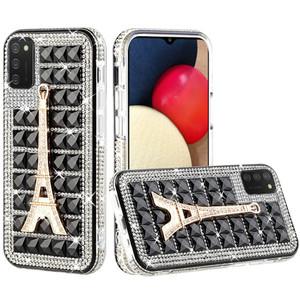 Samsung A02s Bling Diamond Shiny Crystal Case Eiffel Tower on Black