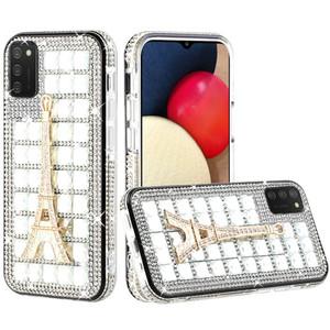 Samsung A02s Bling Diamond Shiny Crystal Case Eiffel Tower on Silver