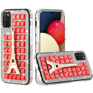 Samsung A02s Bling Diamond Shiny Crystal Case Eiffel Tower on Red