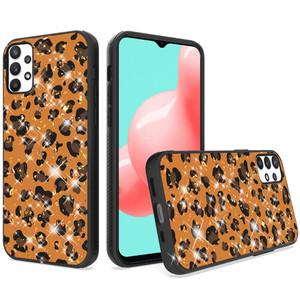 Samsung A32 5G Epoxy Glitter Hybrid Case Orange Leopard
