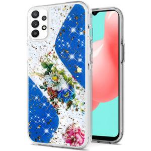 Samsung A32 5G Epoxy Glitter Hybrid Case Blue Floral