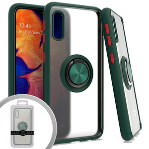 Samsung A10E MM Clear Magnet Ring Stand Case Green