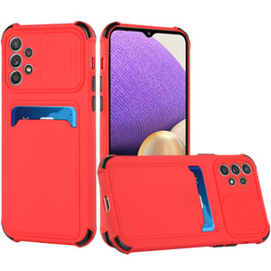 Samsung A32 5G TPU Card Holder W Camera Protecter Red