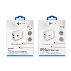 Home+ PD & USB Dual Home Charging Lightning To Type C Combo