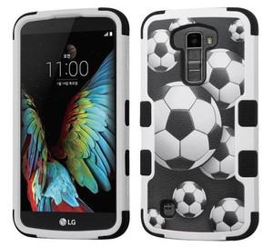 LG K10 MYBAT Soccer Ball Collage/Black TUFF Hybrid Protector Cover