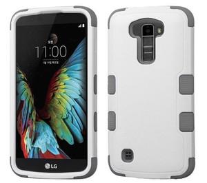 LG K10 MYBAT Natural Cream White/Iron Gray TUFF Hybrid Phone Protector Cover