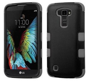 LG K10 MYBAT Natural Black/Iron Gray TUFF Hybrid Phone Protector Cover