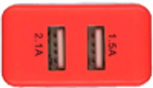 MM Travel DUAL USB Adapter 2.1/1.5 AMP Orange