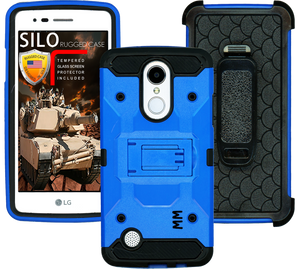 LG Aristo MM Silo Rugged Case Blue(Full Covered Tempered Glass Included)