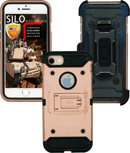 Iphone 8/7/6/6S MM Silo Rugged Case Rose Gold(Tempered Glass Included)