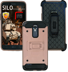 LG Stylo 3 MM Silo Rugged Case Rose Gold(Tempered Glass Included)