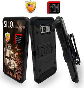 Samsung Galaxy S8  MM Silo Rugged Case Black(Curved Tempered Glass Included)