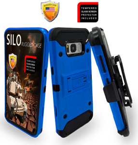 Samsung Galaxy S8  MM Silo Rugged Case Blue(Curved Tempered Glass Included)