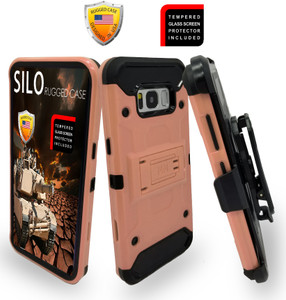 Samsung Galaxy S8 PLUS  MM Silo Rugged Case Rose Gold(Curved Tempered Glass Included)