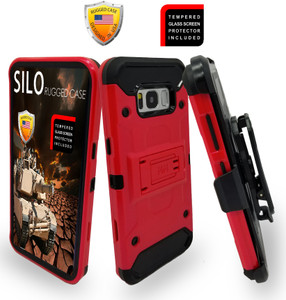 Samsung Galaxy S8 PLUS  MM Silo Rugged Case  Red(Curved Tempered Glass Included)