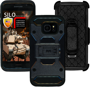 Samsung Galaxy S7 EDGE MM Silo Rugged Case Black(Curved Tempered Glass Included)