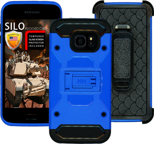 Samsung Galaxy S7 EDGE MM Silo Rugged Case Sea Blue(Curved Tempered Glass Included)