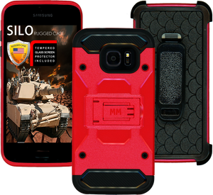 Samsung Galaxy S7 EDGE MM Silo Rugged Case Red(Curved Tempered Glass Included)