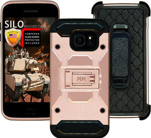 Samsung Galaxy S7 EDGE MM Silo Rugged Case Rose Gold(Curved Tempered Glass Included)