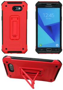 Samasung Galaxy J3 Emerge MM Opal Kickstand Case RED(Tempered Glass Included)