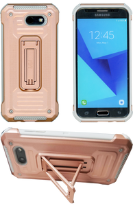 Samasung Galaxy J3 Emerge MM Opal Kickstand Case Rose Gold (Tempered Glass Included)