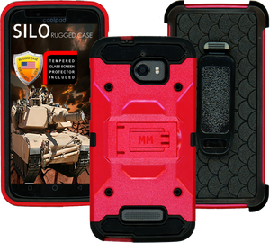 Coolpad Defiant MM Silo Rugged Case Red(Tempered Glass Included)