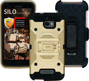 Coolpad Defiant MM Silo Rugged Case Gold(Tempered Glass Included)