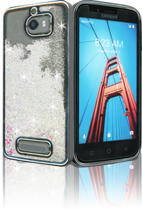Coolpad Defiant MM Electroplated Water Glitter Case With Stars Silver