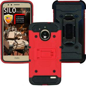 Motorola  E4 MM Silo Rugged Case Red(Tempered Glass Included)
