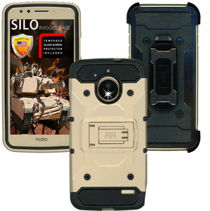 Motorola  E4 MM Silo Rugged Case Gold(Tempered Glass Included)