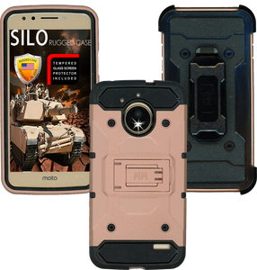 Motorola  E4 MM Silo Rugged Case Rose Gold(Tempered Glass Included)