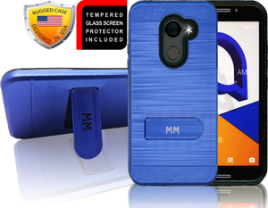 Alcatel A30 Fierce MM Opal Kickstand Case With Credit Card Blue(Tempered Glass Included)