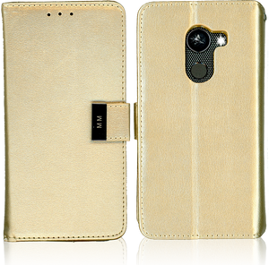 Alcatel A30 Fierce MM Premium Folio Wallet Gold